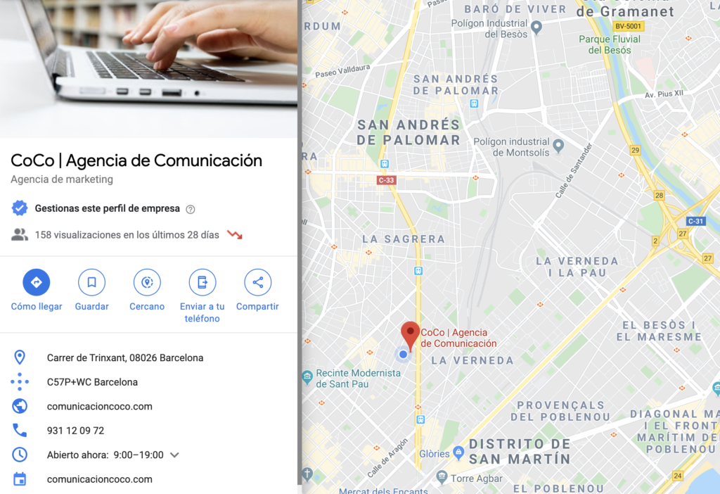 Ejemplo de la ficha en Google Maps con Google My Business. Photo by CoCo