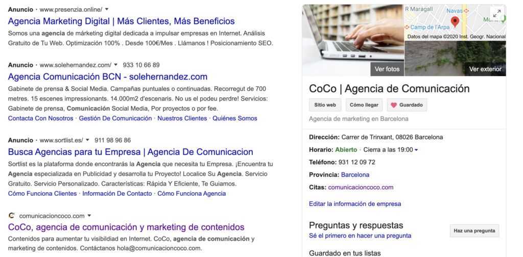 Ejemplo de la ficha en Google búsquedas con Google My Business. Photo by CoCo